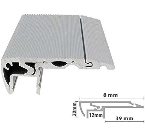 Perfil de aluminio con LED de 1 metro para escaleras, peldaños, alfombras, hormigón, antideslizante: Amazon.es: Iluminación