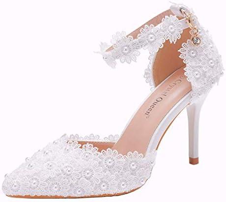 Details about  /Size 34-42 Womens Ankle Strap White Lace Pearl Wedding Stilettos Heel Shoes Pump