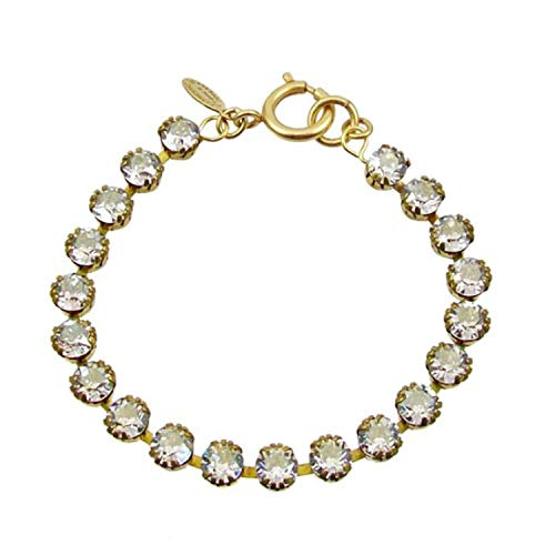 La vie Parisienne Catherine Popesco Gold Plated Tennis Bracelet with Clear Swarovski Crystals, 7.5