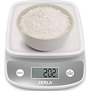 Digital Kitchen Scale by ZERLA , Multifunction Food Scale with Range from 0.04oz to 11lbs, White