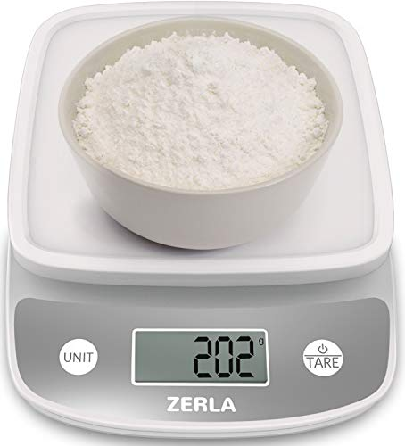 (Digital Kitchen Scale by Zerla - Versatile Food Scale - Weigh Snacks, Liquids, Foods - Accurate Weight Scale within .05 oz. - Great for Adkins Diet, Weight Loss Programs & Portion Control)