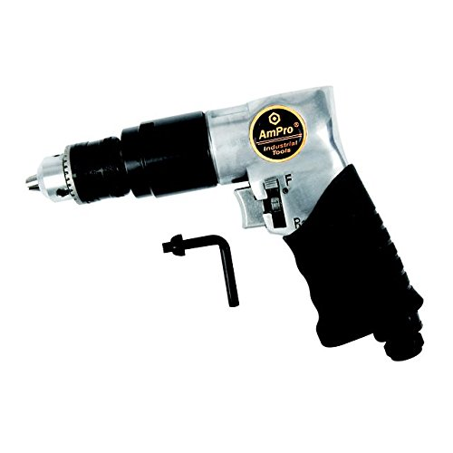AMPRO A2431 3/8-Inch Heavy Duty Reversible Air Drill 3 Gear 1800 RPM