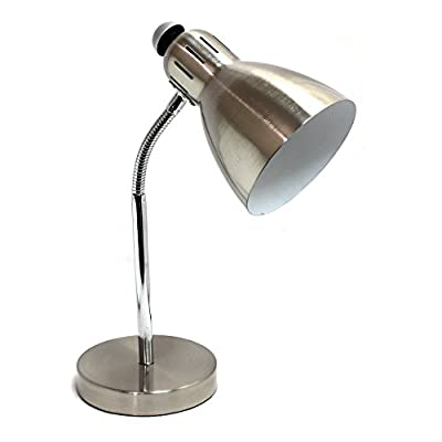 Simple Designs Semi Flexible Desk Lamp - Dimensions: 7.31W x 5.12D x 15.75H in. Constructed with metal Brushed nickel finish - lamps, bedroom-decor, bedroom - 41wJoIrIocL. SS400  -