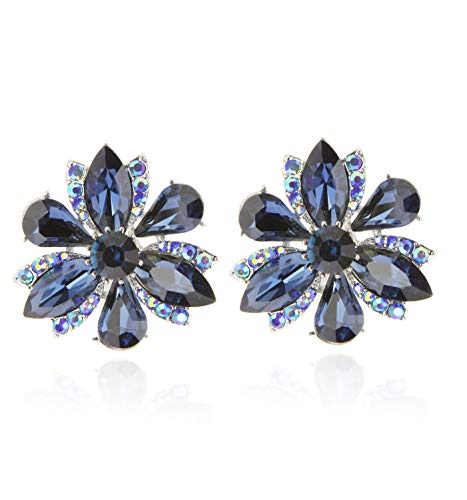 SP Sophia Collection Women's Stunning Crystal Statement Floral Stud Clip On Earrings in Navy