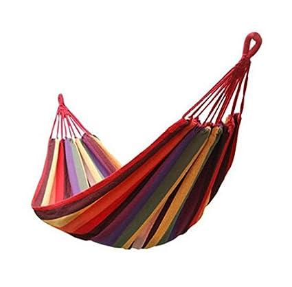 YuMART - Thick Cotton Hammock Swing \ Swing for Outdoor Garden, Picnic, Camping, etc. - Multicolour Cotton Canvas - 1 No.
