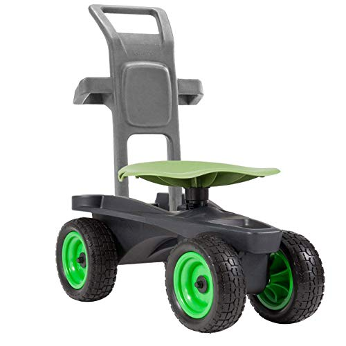 Easy Up Deluxe XTV Rolling Garden Seat and Scoot - Adjustable Swivel Seat, Heavy Duty Wheels, and Ergonomic Design to Assist Standing, Sitting, and Bending Over Made in The USA ()