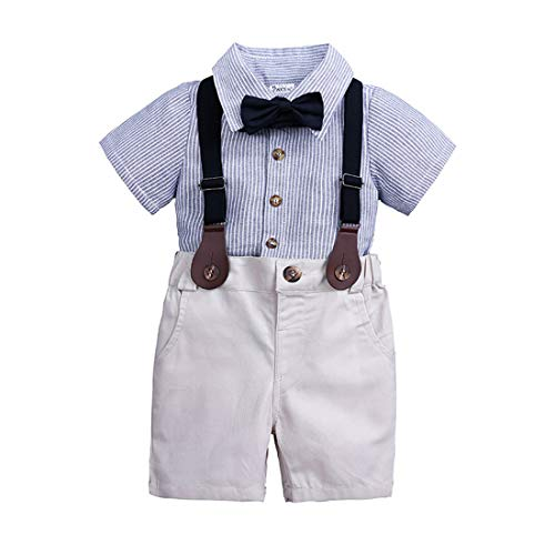 Amberetech Baby Boys Suspender Shorts Set Denim Overalls Outfit Cotton Long Sleeve Blue Stripe Shirt Two-Piece Suits (Blue 2, for 2-3 Years) ()