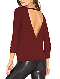 Mippo Women's Sexy Backless Long Sleeve T Shirt Casual Open Back Cross Knot Top
