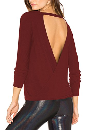 (Mippo Women's Sexy Backless Loose Shirt Long Sleeve Open Back Sweater Cross Tee Loose Stretchy Yoga Tops Blouse Wine Red M)
