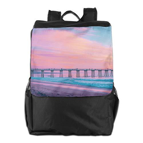 Pastel Pier Hermosa Beach United States Women Men Laptop Travel Backpack College School Bookbag Black ()