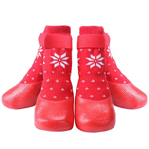 Skid Dog Boots (KOOLTAIL Red Dog Socks Anti Slip withStraps Traction Control Waterproof Paw Protector, XL)