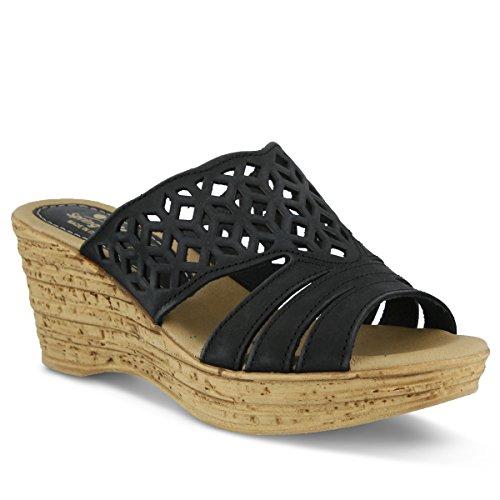 Spring Step Women's Vino Wedge Sandal, Black, 39 EU/8.5 M US