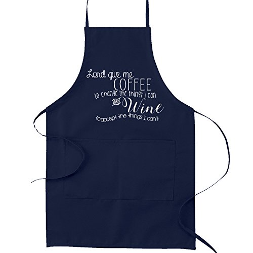 Coffee Apron - Serenity Prayer Coffee Wine Funny Parody Cooking Baking Kitchen Apron - Navy Blue