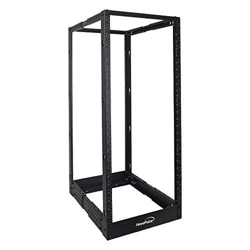 NavePoint 25U Professional 4-Post IT Open Frame Server Network Relay Rack 4.5 Feet Tall Threaded Black
