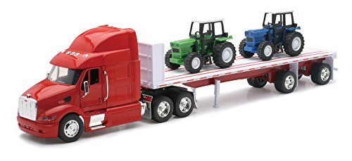 (Peterbilt Truck with Flatbed Trailer and 2 Farm Tractors: Diecast and Plastic Model - 1:32 scale by NewRay)