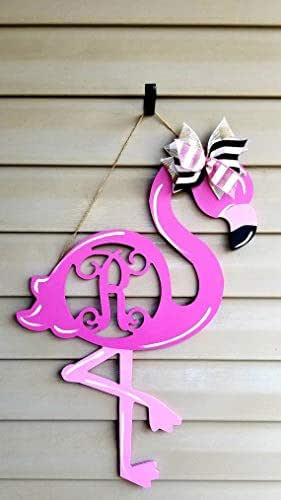 Amazon Com Monogram Flamingo Door Hanger Wood Summer Door
