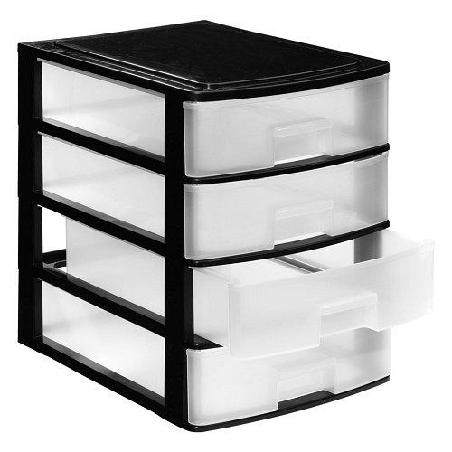 Stylo Set de 4/cajones de pl/ástico color negro
