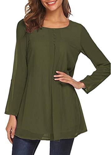 Camicia Elegante Militare Lunga Pulsante Bluse Dorimis Manica Loose A Casual Chiffon Verde Donna Line OxBYxwE