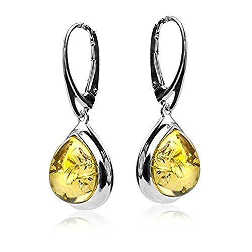 Sterling Silver Amber Drop Dangle Leverback Earrings