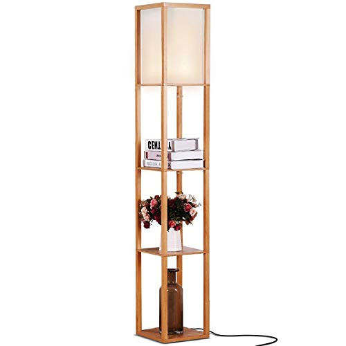 Brightech Maxwell - LED Shelf Floor Lamp - Modern Standing Light for Living Rooms & Bedrooms - Asian Wooden Frame with Open Box Display Shelves - Natural Wood ()