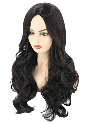 Topcosplay Womens Wigs Black Long Wavy Cosplay Halloween Costumes Wig Hair Replacement Wig