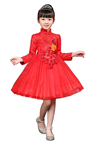 SKY-ST Girls Chinese Cheongsam Tutu Dresses Retro Embroidery Princess Dresses for Age 3-10T (Chinese Chinese Dress Dresses)