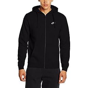 NIKE Men's NSW Club Hoodie Full Zip, Black/Black/White, Large