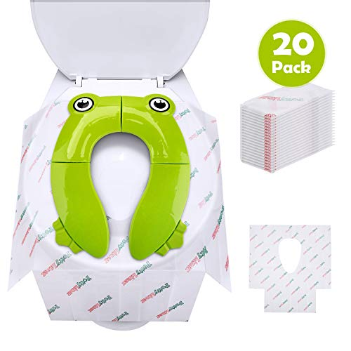 Potty Seat Cover, 20 Pack Disposable Toilet Seat Covers Liners & A Reusable Toilet Training Seat Cover, Folding Large Non Slip Silicone Pads Travel Portable Potty Cover with Carry Bag for Baby