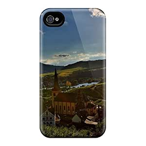 Anti-scratch Case Cover Phone Case Protective Bright Sun On A Church In A River Valley Town Case For Iphone 4/4s by mcsharks