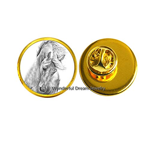 New Black and White Horse Pin Brooch Jewelry Round Glass Cabochon Horse Brooch Wholesale Private Gift,PU146 (Gold)