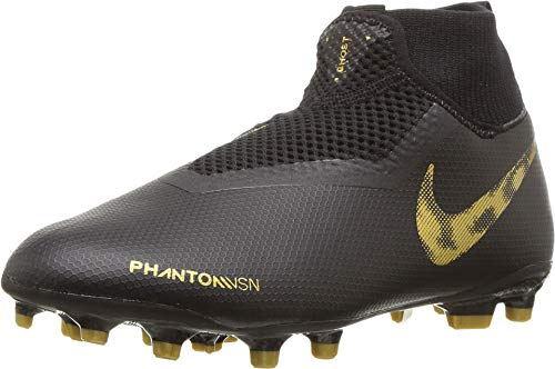Nike Kids Unisex JR Phantom Vision Academy DF FG/MG Soccer (Little Kid/Big Kid) Black/Metallic Vivid Gold 6 M US Big Kid