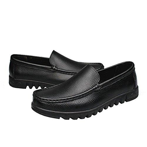 Lisianthus Heren Leren Casual Instapper Loafers Zwart