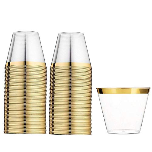 110 Gold Plastic Cups 9 Ounce - Elegant Disposable Clear Gold Rimmed Tumbler - Fancy Heavy Duty - Wedding Party Decoration Glasses with Gold Trim - Elegant Old Fashioned