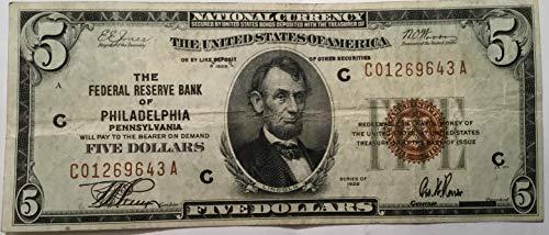 (Rare Scarce Five Dollar $5 1929 Brown Seal Federal Reserve Bank Of Philadelphia Pennsylvania USA Scarcer Early Type Note)