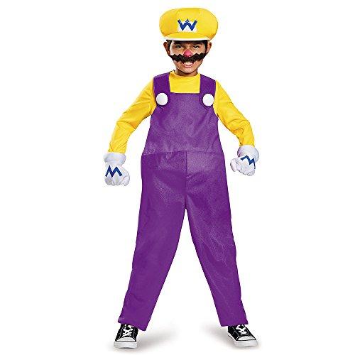 [Disguise Wario Deluxe Super Mario Bros. Nintendo Costume, Medium/7-8] (Kids Mario Costumes)