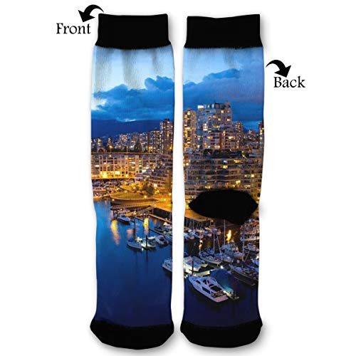 Fashion Travel Breathable Socks City Night Vancouver Canada Sunset Sky Men & Women Running Casual Socks ()
