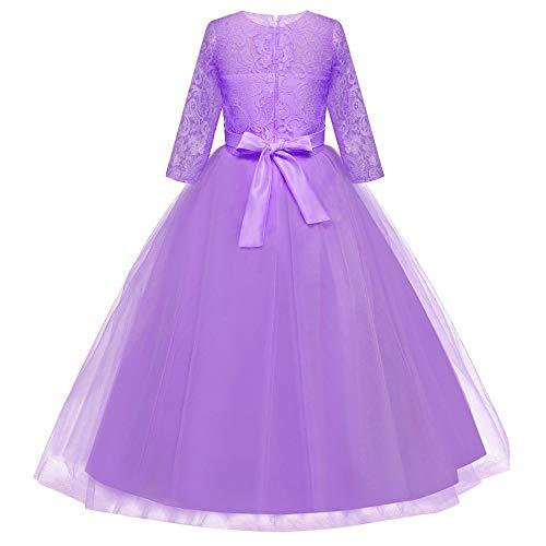 Anni Da 3 Halloween Purple Mezza Bambina Bowknot Natale Vestito Cerimonia Elegante Abito Carnevale Ragazze Tutu Pizzo Partito Costume Principessa 12 Manica Festa Rcool 1qFA5w