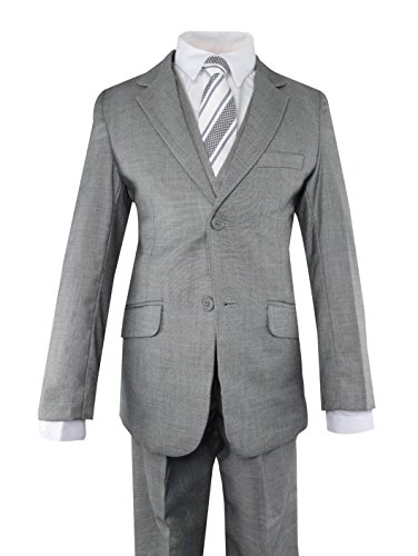 5 Suit Boy Dress (Luca Gabriel Toddler Boys' 5 Piece Slim Fit Grey Formal Dress Suit Set with Tie and Vest - Size 6)