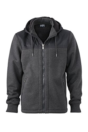 In Men's Anthracite Materiali Casual Giacca Di Jacket Con black Mix Cappuccio melange Teddy Tendenza Lined qB8Rtpw