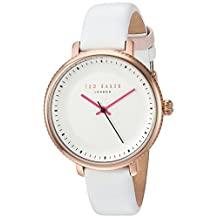 Ted Baker Women's 'ISLA' Quartz Stainless Steel and Leather Dress Watch, Color:White (Model: 10031529)