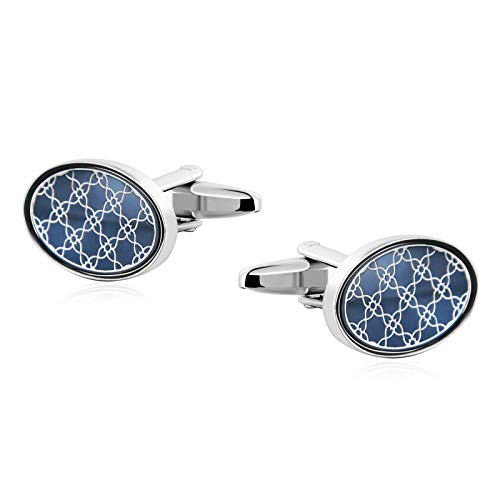 Adisaer-Stainless Steel Cufflinks for Men Cloth Blue Oval Cross Flower 1.9x1.3CM Cufflinks Gift for Father