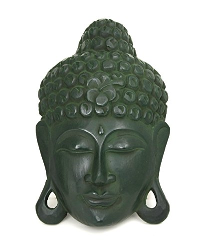 Art Deco Wall Masks (Vintage Style Wood Carved Buddha Head Mask Wall Art Sculpture (Vintage Green))