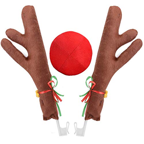 (Ankuka Car Reindeer Antlers & Nose Decorations, Window Roof-Top & Front Grille Rudolf Reindeer Jingle Bell Christmas Costume Auto)