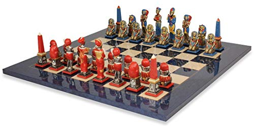 Egyptian Hand Painted Brass Chess Set & Blue Ash Chess Board ()