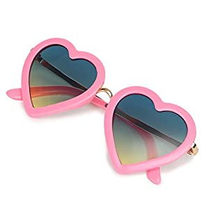 4afea4aef6b7 CMK Trendy Kids Kids Polarized Heart Shaped Sunglasses for Toddler Girls  Age 3-10 ...