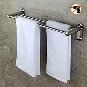 CHOELF 50cm/20 inch Towel Rail Wall Mounted with Wall Hooks, 8kg Max Self Adhesive Hand Towel Holder with Double Bar…