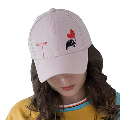 Haluoo Heart Embroided Baseball Cap Letters Hold On Dad Hat Polo Style Unconstructed Hat Elephant Snapback Hat Outdoor Hat Men Women 2019 Fashion Summer Visor Hat (Pink)