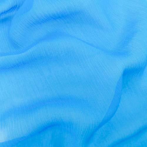 Atlantis Blue Silk Crinkle Chiffon, Fabric by The Yard