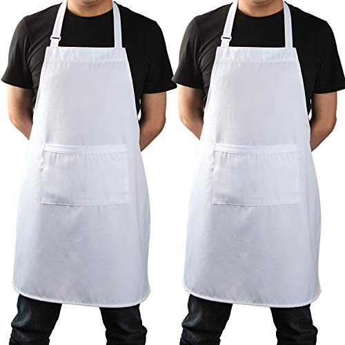 White Kitchen Chef Apron, Adjustable Professional Cooking Apron with Pockets for Men and Women, 2 Pack