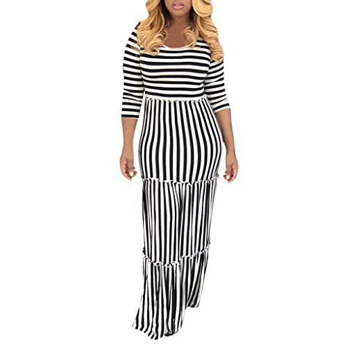 UOFOCO Striped Printed Holiday Ruffled Long Maxi Dresses Women Sexy 3/4 Sleeve O-Neck Dresses Black